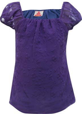 UFO Casual Short Sleeve Solid Girl's Purple Top