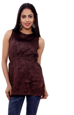 GMI Casual Sleeveless Solid Women's Brown Top