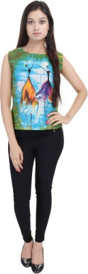 Tami Casual Sleeveless Printed Women's Green Top