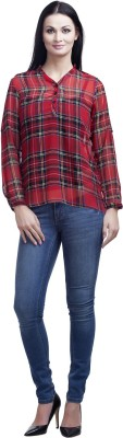 Mallory Winston Casual Full Sleeve Checkered Women's Red Top
