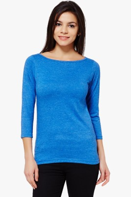 PNY Casual 3/4 Sleeve Solid Women,s Blue Top