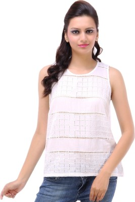 Kashana Fashions Casual Sleeveless Self Design Women's White Top