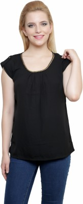 Anj Casual Sleeveless Solid Women's Black Top