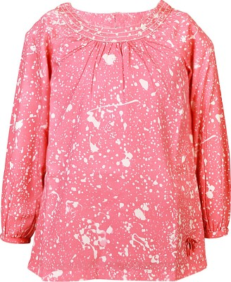 Blue Giraffe Casual Full Sleeve Self Design Girl's Pink Top