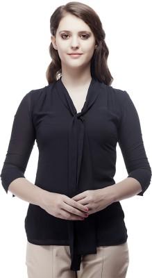 ORIANNE Formal, Casual 3/4 Sleeve Solid Women's Dark Blue Top