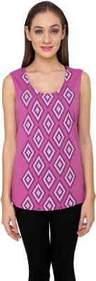 Rena Love Casual Sleeveless Embroidered Women's Purple Top
