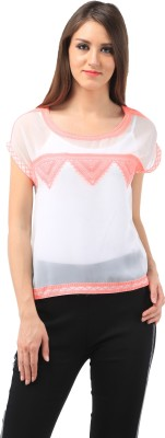 Chic Crowd Casual Cap sleeve Embroidered Women's White, Pink Top