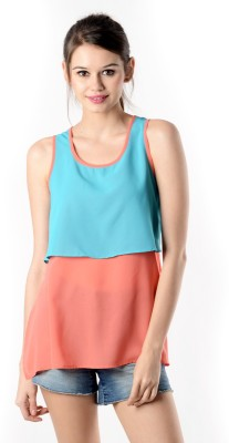 Oranje Casual Sleeveless Solid Women's Pink, Blue Top