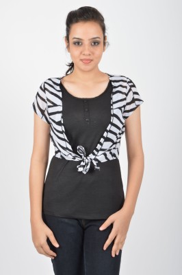 Merch21 Casual Short Sleeve Printed Women's Black Top