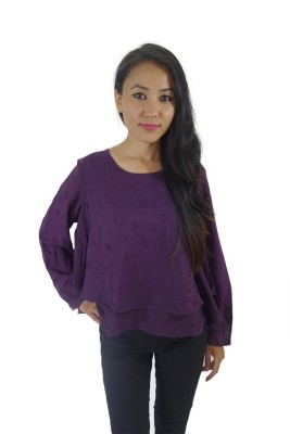 ShopMore Casual Full Sleeve Printed Women's Purple Top