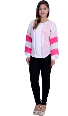 Rich Creations Casual, Party Full Sleeve Solid Women's White, Pink Top