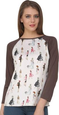 Ebry Casual 3/4 Sleeve Printed Women's White, Brown Top