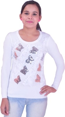 Krazzy Collection Festive Full Sleeve Self Design Women's White Top