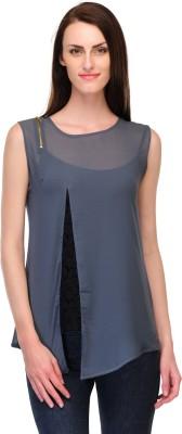 Fashionwalk Casual Sleeveless Solid Women's Blue Top