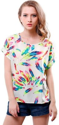 1410 Casual, Formal Short Sleeve Animal Print Women's Multicolor Top