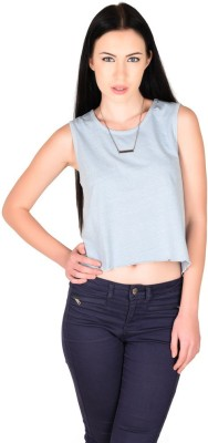 The Glu Affair Casual Sleeveless Solid Women's Light Blue Top
