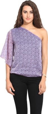 Lucero Casual Short Sleeve Floral Print Women's Purple Top