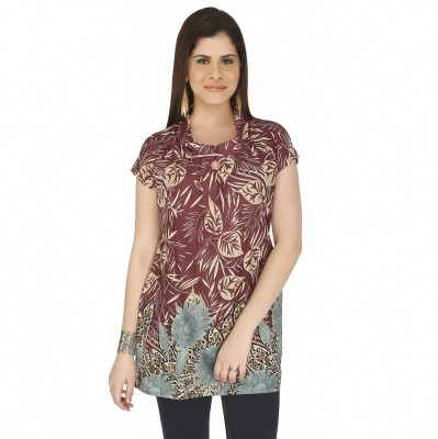Free Spirited Casual Short Sleeve Printed Women's Pink Top