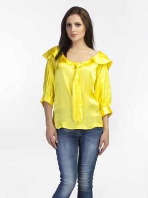 Schwof Casual 3/4 Sleeve Solid Women's Yellow Top