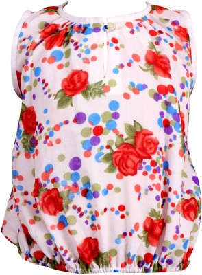 Toddla Casual Sleeveless Printed Girl's Red Top