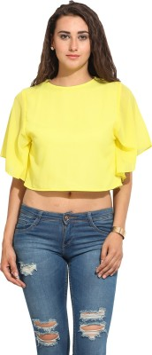 Lucero Casual Short Sleeve Solid Women's Yellow Top