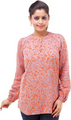 Kashana Fashions Casual Full Sleeve Printed Women's Orange Top