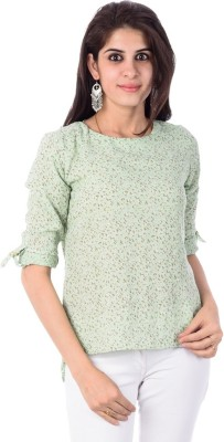 Pacific Casual, Formal Roll-up Sleeve Printed Women's Green Top
