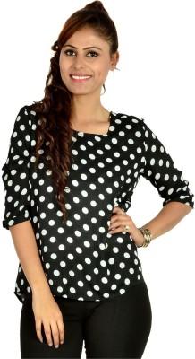 Designeez Casual 3/4 Sleeve Polka Print Women's Black Top
