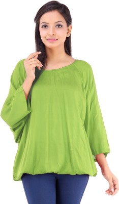 Inblue Fashions Casual 3/4 Sleeve Solid Women's Green Top