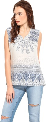 Blue Sequin Casual Sleeveless Printed Women's White, Blue Top