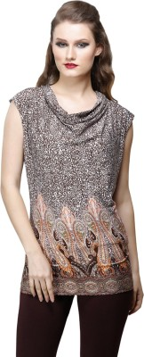 Desert Rose Party Sleeveless Printed Women's Brown Top