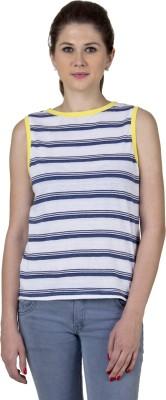 Jprana Casual Sleeveless Striped Women's Yellow, White Top