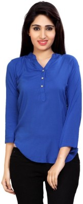 Carrel Casual 3/4 Sleeve Solid Women's Blue Top