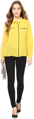 Latin Quarters Casual Full Sleeve Solid Women,s Yellow Top