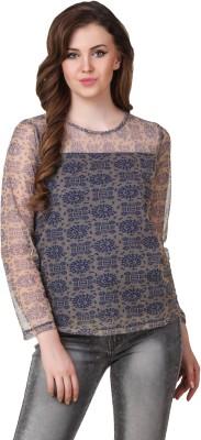 Lili Blank Casual Full Sleeve Printed Women's Blue Top