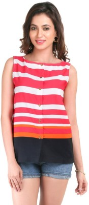 Big Tree Casual Sleeveless Striped Women's Pink Top