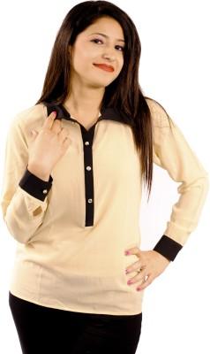 Natty India Casual Full Sleeve Solid Women's Beige, Black Top