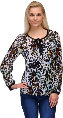 Curvy Q Casual Full Sleeve Animal Print Women's Multicolor Top