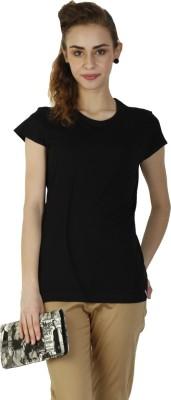 Duke Stardust Casual Short Sleeve Solid Women's Black Top