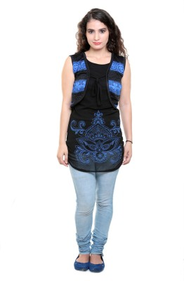 Sea Lion Casual Sleeveless Printed Women's Black, Blue Top
