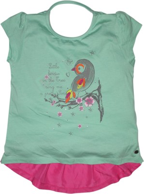 FS Mini Klub Casual Short Sleeve Printed Girl's Light Green Top