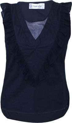 Attuendo Casual Sleeveless Solid Women's Black Top