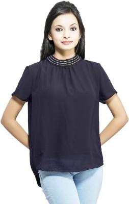 Kashana Fashions Party Short Sleeve Self Design Women's Dark Blue Top