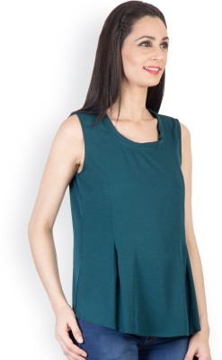 Tops and Tunics Casual Sleeveless Solid Women's Green Top