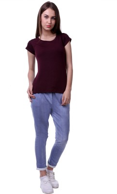 Vogue Centric Casual Cap sleeve Solid Women's Maroon Top