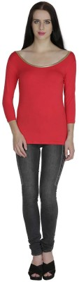 Svt Ada Collections Formal 3/4 Sleeve Solid Women's Red Top