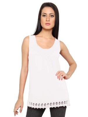 Pepperika Casual Sleeveless Solid Women's White Top