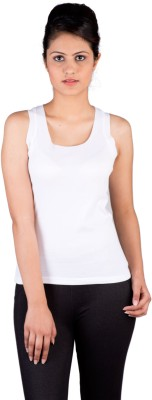 De Moza Casual Sleeveless Solid Women's White Top