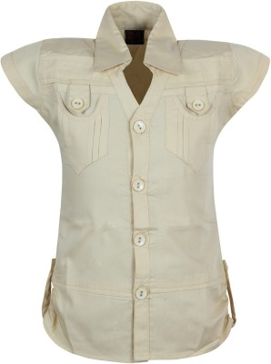 Jazzup Casual Short Sleeve Solid Girl's Beige Top