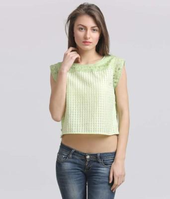 Moda Elementi Casual Cap sleeve Self Design Women's Green Top